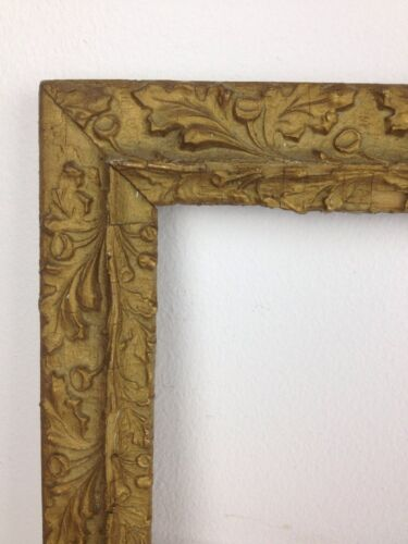 Antique 15x18 Gold Gesso & Wood Picture Frame with Glass Oak Leaves & Acorns