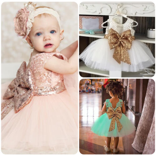 Toddler Baby Girl Sequin Bowknot Princess Tutu Dress Party Pageant Wedding Gown