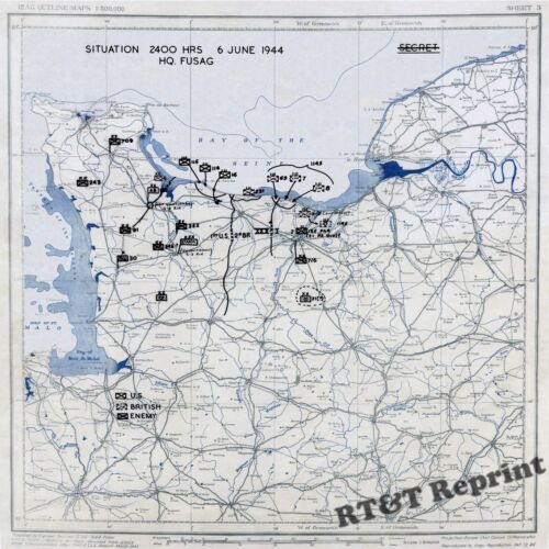 Wall Art of WWII Map D-Day US Army Position June 6, 1944  13x13 inchesUnited States - 156437