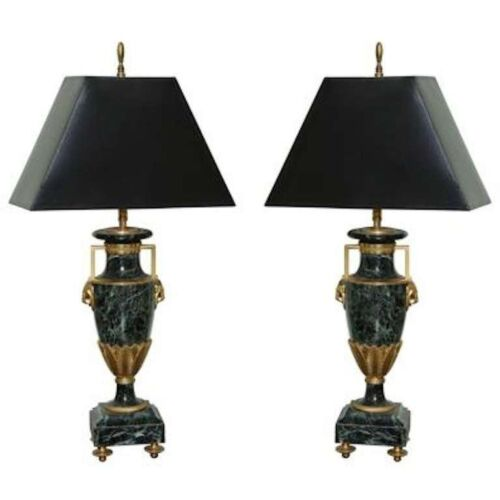 Pair of Refined Neoclassic Verde Marble Lamps with Gilt Bronze and Provenance