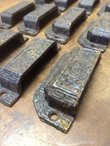 Set of 12 Matching Cast Iron Pulls Eastlake Victorian Style Hardware Very Nice