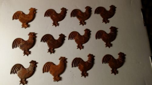 "Set of 12 Embossed Rusty Rooster Cut-Outs, Primitive, 2.25"", 3D, Metal, Rustic"