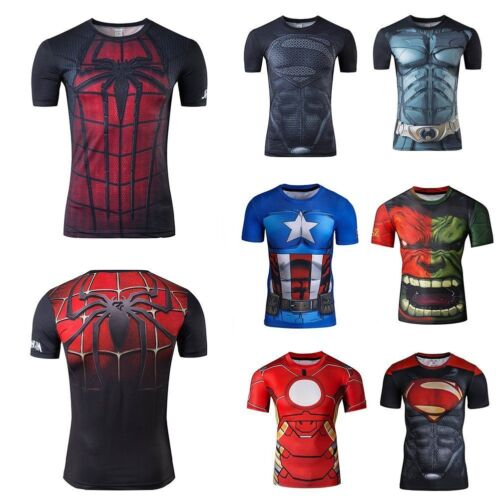 Mens t shirt compression top gym superhero avengers marvel muscle superman <br/> U.K Stock Fast dispatch Clearence Price Limited Stock