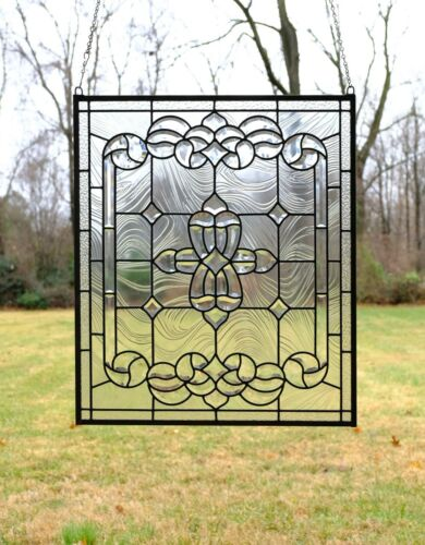 "24"" x 28.25"" Stunning Tiffany Style stained glass Clear Beveled window panel"