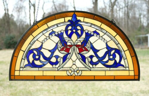 "34.5""L x 18.5""H Half Round Handcrafted stained glass window Glass panel"