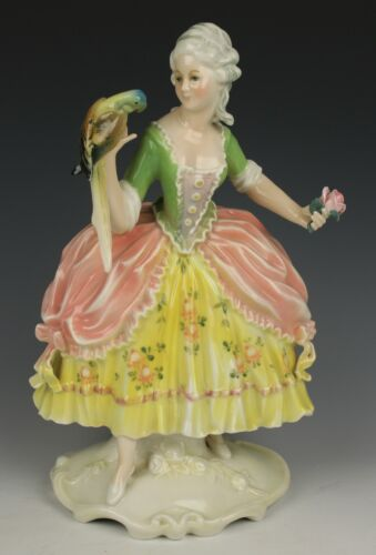 "Dresden Volkstedt Karl Ens figurine ""Lady with Parrot"" WorldWide"