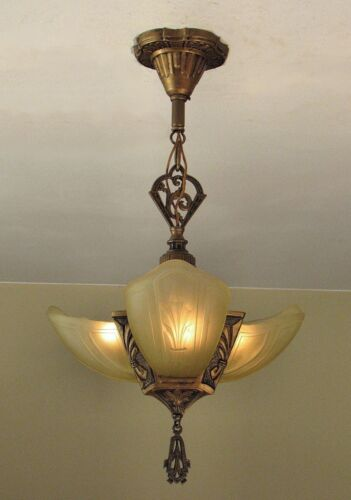 AWESOME! Antique FLEUR DE LIS Slip Shade Light Fixture - RESTORED!