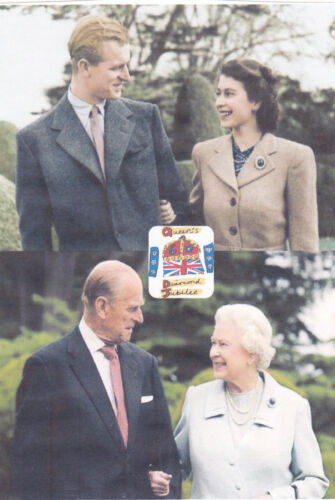 "QUEEN ELIZABETH II & PHILIP DIAMOND JUBILEE PAST/PRESENT FRIDGE MAGNET 5"" X 3.5"""