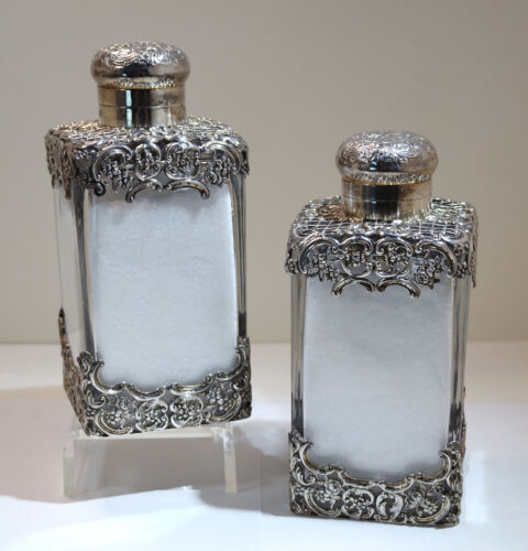 Victorian Sterling Silver & Crystal Glass Pair of Large Scent Bottles W Corke