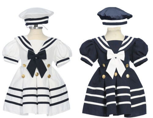 Infant Toddler Girls Sailor dress, Navy Blue or White  Small to 4T