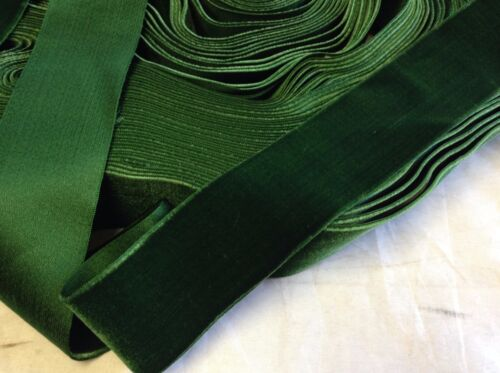 "5 Yards Green 1 5/8"" HANK FRENCH Vintage Silk Rayon Satin Back Velvet Ribbon"