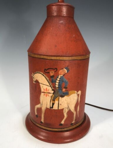 Primitive Painted Colonial Tole Cannister Lamp Rustic Folk Art Painted Tin Horse