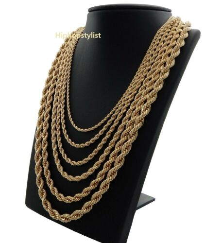 """Rope Chain Necklace 2.5mm to 10mm Width 20"""" 22"""" 24"""" 26"""" 30"""" 14k Gold Plated"""