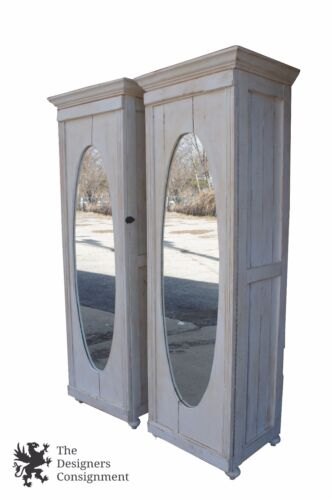 2 Antique Reclaimed White Mirrored Armoire Cabinets Latched Doors Shelves Shabby