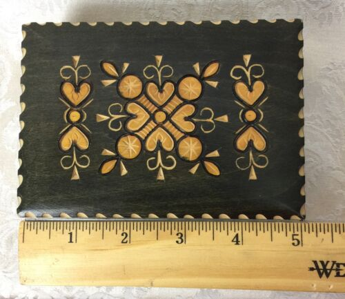 Hand Carved wood Box with Hearts & Hinged lid