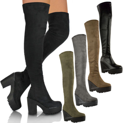 WOMENS LADIES SEXY OVER THE KNEE THIGH HIGH CHUNKY PLATFORM HEEL STRETCH BOOTS