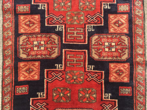3x9 HAND KNOTTED PERSIAN IRAN HERIZ RUG RUNNER WOVEN MADE 3 x 9 WOOL 4 8 10 blue