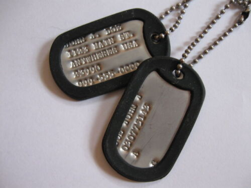 personalized military dog tag sets. with your choice of silencer colorsOther Militaria - 135