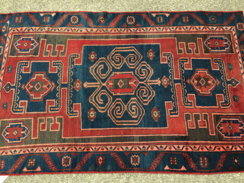 4x7 HAND KNOTTED PERSIAN IRAN RUG WOVEN MADE HERIZ ANTIQUE 4 x 7 wool blue 5 6 8
