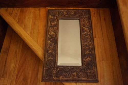 Antique Carved Wood Frame Rustic Beveled Glass Mirror Wall Plaque Tulips Gold Gi
