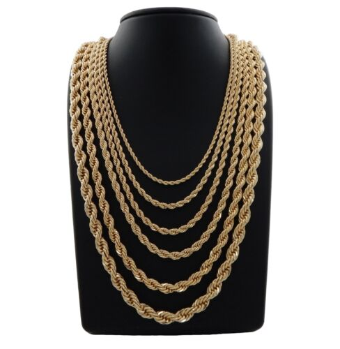 """Mens Rope Chain Necklace 14k Gold Plated 2.5mm to 10mm 20"""" 22"""" 24"""" 26"""" 30"""""""