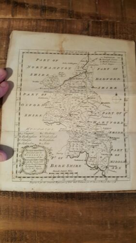 EARLY Map / Buckinghamshire Divided into its Hundreds, Circa 1760, Emanuel Bowen
