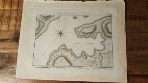 Early French Map / Map of Port Partheni / Circa 1801
