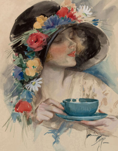 Harrison Fisher Afternoon Tea Canvas Print 16 x 20   #3271
