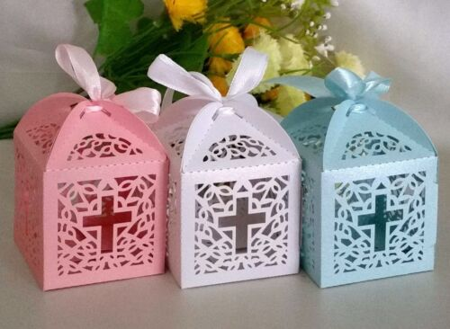 10/25/50 Christening Cross Laser Cut Favor Box Candy Choc Party Baby Gift Favour