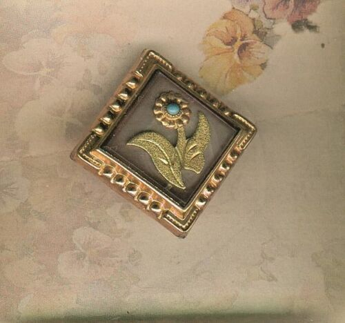 Victorian Rose Gilt Metal Stud Button w/ Green Gold Leaves & Turquoise Flower