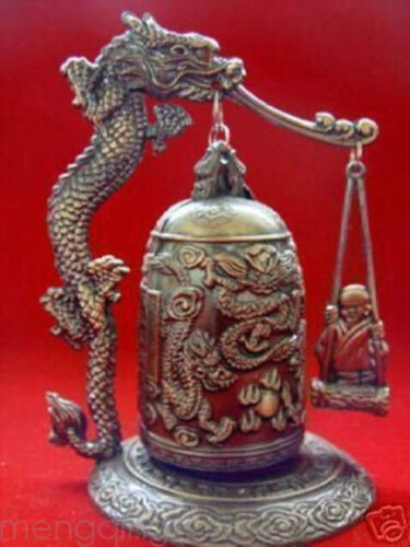 Fengshui Excellent Tibet Brass Dragon buddha Bell High 5in Width 4in