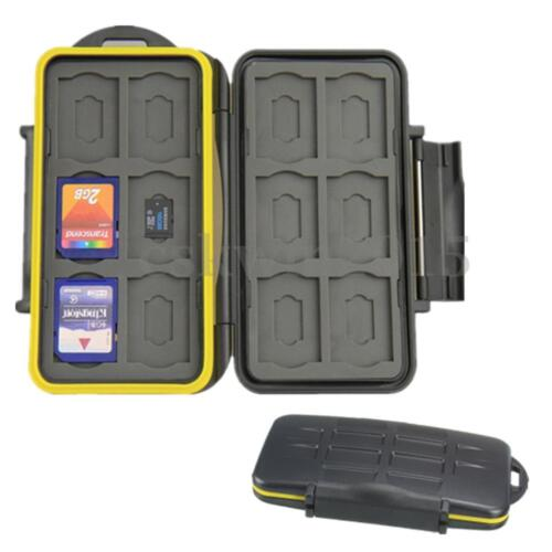 Black Waterproof 12SD + 12TF Memory Card Protective Carry Case Travel Holder Bag