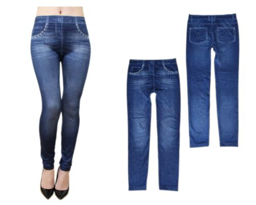 Kali & Wins Print Jean Denim Jegging Look Stretchy Skinny Seamless Leggings