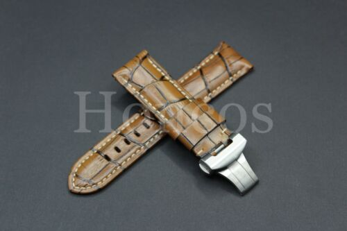 24MM Brown Leather Alligator Watch Band Strap Deployment Buckle Fits For Pam