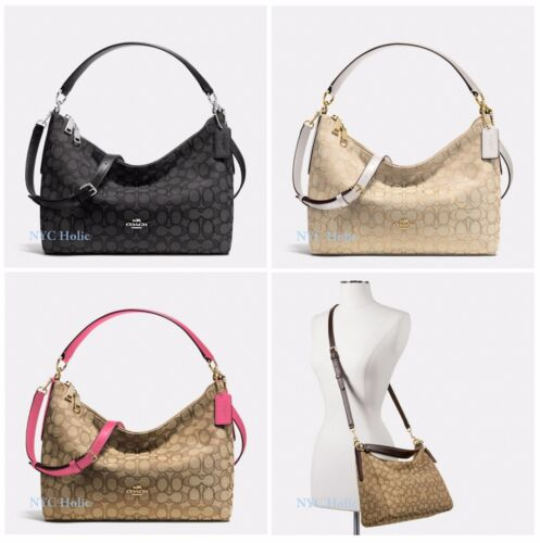 New Coach F58284 East West Celeste Convertible Hobo Outline Signature Jacquard