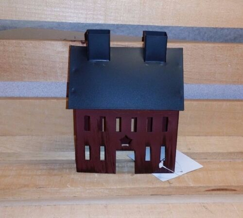 Primitive Burgundy Tin Saltbox House, New, Country, Metal, Rustic, Star Cut Out