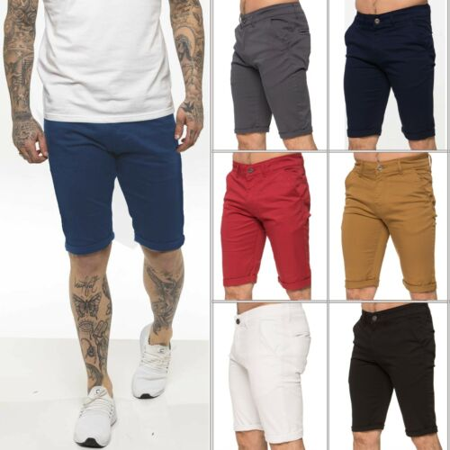 Mens Chino Shorts Skinny Fit Stretch Enzo Short Casual Cotton Summer Half Pants