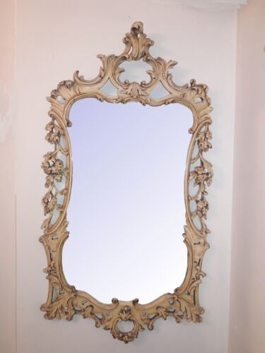 Antique Carved Italian Mirror Large Paint Decorated Floral Italian Mirror