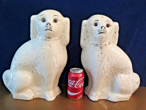 """Best Antique Staffordshire Dogs Glass Eyes Ever Large White 13.5"""" England 1860's"""