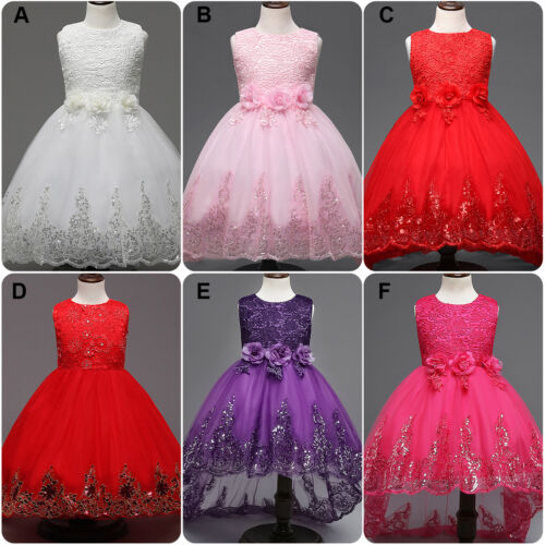 Flower Girl Princess Baby Kid Trailing Dress Party Pageant Wedding Formal Gown