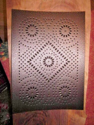 Set of 4 Antique Copper Fireworks Punched Tin Panels Pie Safe Bread Box Cabinet