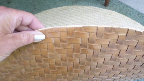 """194D Vtg Rataan/Wicker Table Top Woven Mat Replacement Top 45 1/2""""+ Round NICE!!"""