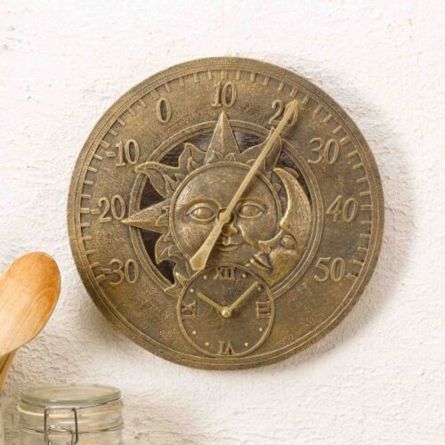 Outdoor Sun and Moon Wall Clock and Thermometer Garden Display Aged Gold