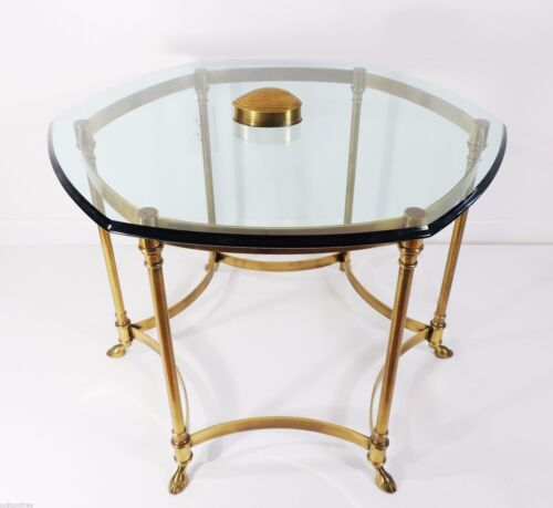 Vintage French Brass Hexagon Glass Top Hollywood Regency Labarge Coffee table