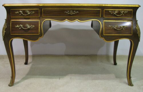 Exceptional Karges Louis XV Style Desk; Walnut Solids and Tooled Leather Top