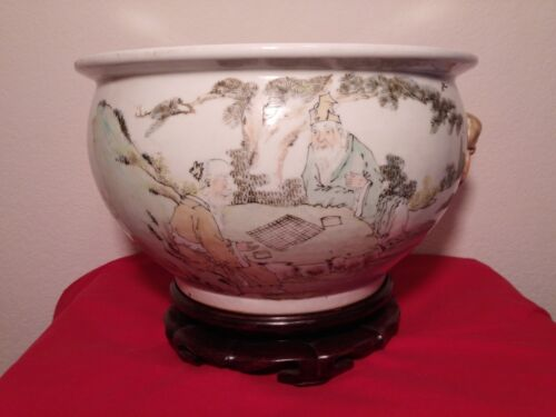 Chinese Famille Rose Jardiniere/Pot & Footed W/Mythical Heads and Loops 19th C.
