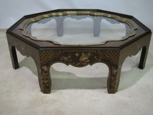 Baker Furniture Collector's Edition Chinoise Coffee Table; Brass & Glass Insert