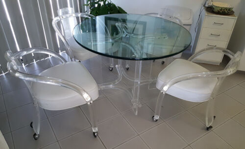 70's MID CENTURY MODERN CHARLES HOLLIS JONES STYLE LUCITE DINING CHAIRS + TABLE