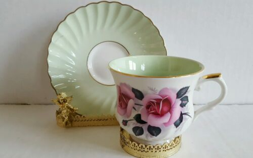 Vintage Old Foley Staffordshire Green Tea Cup and Saucer Pink Roses Excellent