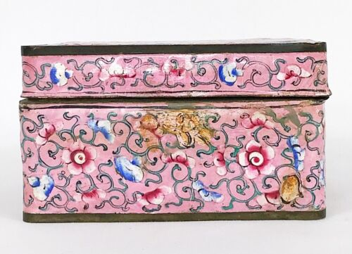 Antique Chinese Cloisonne Enamel Box - Pink Green Flowers